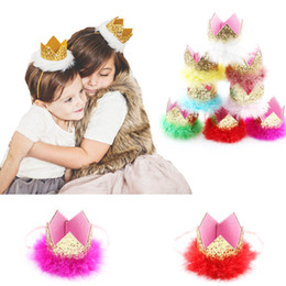 Energetic Lace Flower Mesh Number 1 Crown Baby Tiara Hair Accessories Newborn Birthday Cute Cap Lace Flowers Crown Creative Event & Party