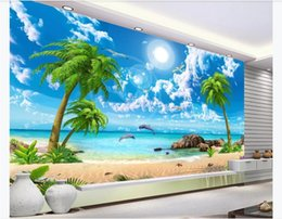 $enCountryForm.capitalKeyWord Australia - Customized 3d silk photo murals wallpaper HD beautiful dreamy seascape coconut tree beach landscape painting TV background wall