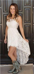 Simple Cheap Short Red Dresses Australia - 2019 Cheap Simple Hi Lo Lace Wedding Dresses Sheer Neck Front Short Back Long Bohemian Beach Bridal Party Gowns Plus Size Custom Made