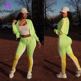 Wholesale green jogging suit resale online – Fitness Autumn Women Yellow Green Color Block Tracksuits Long Sleeves Bomber Jacket Stripe Jogging Sweatpants Suit Outfits Set SH190930