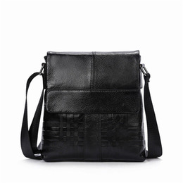 China Men Messenger Bag Male Men Bags Business Knitting Pattern Cow Leather Black Men's Flap Shoulder Bag travel Leather Crossbody cheap knitting patterns bags suppliers