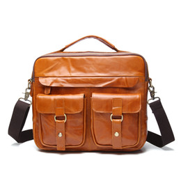 Discount genuine leather duffle bags - 2019 Genuine Leather Men Briefcase Handbag Messenger Bag For Male Large Capacity Travel Duffle Bags Men Laptop Shoulder