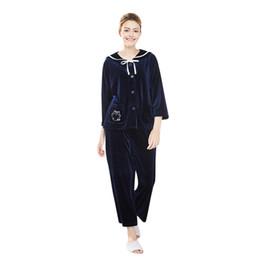 $enCountryForm.capitalKeyWord UK - Women Winter Sleepwear Long Sleeve Velvet Nightwear Satin V-Neck Top Pants Pajama Sets Women Home Suit Seksi Bayan Gecelikler