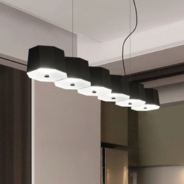 Chinese  Modern Acrylic LED Pendant Light Long strip study 6 heads geometry Suspension Lamp For Parlor Bar Bedroom Home lighting F049 manufacturers