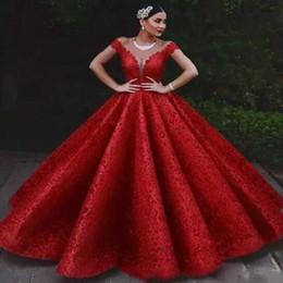 $enCountryForm.capitalKeyWord Australia - 2019 Luxury Red Prom Dresses Off The Shoulder Lace Appliqued Ruffle Floor Length Dubai Arabic Evening Dress Party Wear Quinceanera Dresses