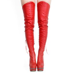 sexy red work dress UK - ZDONE Women's Sexy High Heel Thigh-high Boots Night-club Dance-show Long Boots Platform Winter Warm Fashion Dress Evening Booty Shoes N0781