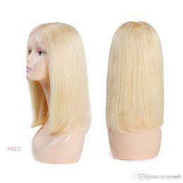 Discount ali queen human hair - Brazilian Remy Hair Part Lace Wigs 130% Density Middle Part #1B #613 Short Human Hair Wigs Ali Queen Hair Lace Front Wig