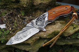 Genuine knife online shopping - Damascus Flipper Folding Knife VG10 Damascus Steel Drop Point Blade Rosewood Handle With Genuine Leather Sheath