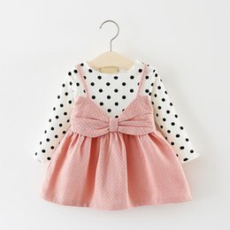Baby Dresses Cotton For Wedding Australia - good quality baby girls dress autumn fashion bow princess dress for infant kids clothing toddle cotton casual wedding baptism dress