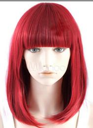Kanekalon Lace Wigs NZ - WIG LL<<< 003233 Charm girls Medium Long Red Cosplay Straight Hair Full Wigs Natural wigs Natural Kanekalon Fiber no lace Hair