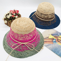 korean gardening hat NZ - Korean version of natural raffia hand-crocheted straw hat foldable ear-bordered straw hat for travel sunshade sun block straw hat fcmLFC-68