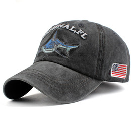 54b2a681d washed cotton men baseball cap fitted cap Shark snapback hat for women  gorras casual casquette embroidery letter retro cap