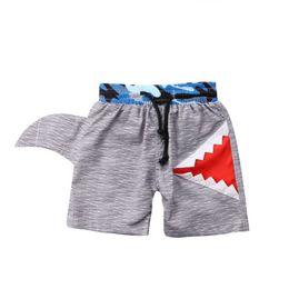 16c20aef5c447 Summer Kids Boy Swimming Trunks Swim Shorts Cartoon Shark Bottom Trunks  Beachwear Gray Swimsuit Bathing Suit