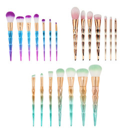 Gold Brush Makeup Australia - Gold and Blue 7pcs Makeup Brushes Unicorn Diamond Colorful Makeup Brush Blue and Purple Gradient Color Brush Set Beauty Makeup Tools 1set