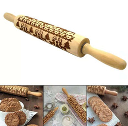 $enCountryForm.capitalKeyWord NZ - Christmas Embossing Rolling Pin Engraved Roller Reindeer Snowflake Baking Cookies Biscuit Fondant Cake Dough Free Shipping