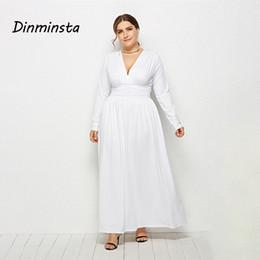 Dinminsta Autumn Women Plus Size Long Maxi Dress Female V Neck Full Sleeve  Elastic High Waist Frocks Design 3XL Casual Dresses 3461d15c1