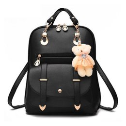 White Star Toys Australia - Preppy Style Women Backpack Bear Toys Pu Leather Schoolbags For Teenage Girls Female Rucksack Shoulder Bag Travel Knapsack