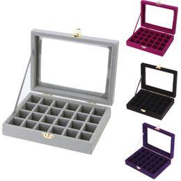 $enCountryForm.capitalKeyWord NZ - 3*3cm 24 Grid Ring Ear Studs Jewelry Storage Display cardboard Box Sueded Wedding Jewelry Casket Pack Show Collection Case 2017