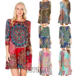 Sundress Short Sleeves Australia - Women Dress Boho Floral Chiffon Summer Casual Beach Short Mini Dress Seven-quarter Sleeve Pocket National Style Print Sundress