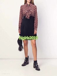 $enCountryForm.capitalKeyWord Australia - high end women girls silk ruffle shirt dress crystal tassel lapel neck monogram long sleeves midi skirt top quality fashion design dresses