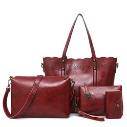 Discount wine bag messenger - Hot sale Composite Bag set hollow out totes women handbags high quality women's messenger bags(Red wine)