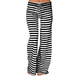 yoga pants long legs UK - Stripe Wide Leg Yoga Pants Plus Size Women Loose Pants Long Trousers for Yoga Dance S M L XL XXL 3XL Soft Cotton Home
