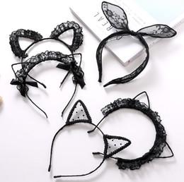 $enCountryForm.capitalKeyWord Australia - Children hair sticks girls lace gauze embroidery rabbit ear headbands kids ribbon Bows cat ear princess hair accessories F8577