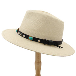 f861958b4cbdf Men Fedora Black Straw UK - 2019 Women Men Panama Straw Sun Hat With Wide  Brim