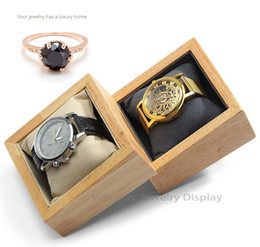 $enCountryForm.capitalKeyWord NZ - Fashion Wooden Square Watch Display Stand Watch Show Tray Jewelry Holder Bracelet Case Box Organizer Props with Pillow