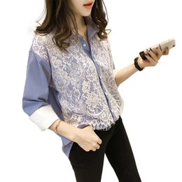 bf315a730eaf54 2019 Spring Autumn Casual Blouses 4XL Plus Size Lace Top Women Clothing  Fashion Loose Long Sleeve Stripe Shirts V460