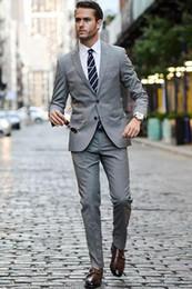 Men S Long Wedding Suit Australia - Europe And The United States British Business Gentleman Autumn Two Buckle Gray Suit Mens Groom Wedding Dress Slim Suit