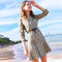 Work Suits Styles Australia - Plaid dress suit skirt women new spring summer autumn style jacket medium long windbreakern high quality work business on sale free shipping