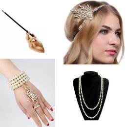 Full latex costumes online shopping - 1920s Charleston Party Flapper Girl Rhinestone Headband Pearl Necklace Bracelet Cigarette Holder Great Gatsby Accessories