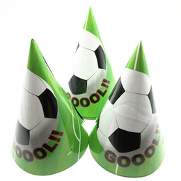$enCountryForm.capitalKeyWord NZ - 6Pcs lot Football theme Disposable Paper caps Girl Birthday Party Decoration Baby Shower Wedding Party Supplies for kids