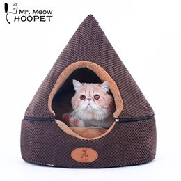 $enCountryForm.capitalKeyWord Australia - Hoopet Pet Cat Tent Bed House Bench For Cats Kennel Double Sided Cushion Cat Basket Bed T8190701