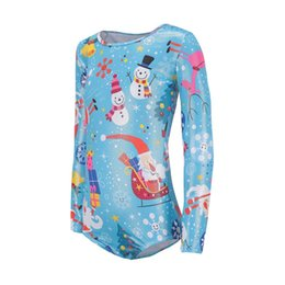 Body Suit Pattern NZ - Ballet Gymnastics Dance Practice Clothes Long-sleeved Christmas costume Santa Claus pattern body suit European American Style
