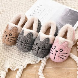 $enCountryForm.capitalKeyWord Australia - Kids Slippers Children Home Shoes Baby Shoes For Boys Girls Indoor Bedroom Warm Winter Cotton Slipper Animal Cat Indoors