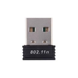 Vente en gros Cartes réseau 1pc Mini USB WiFi Driver Driver 802.11 b / g / n Wi-Fi Dongle Gain élevé 2,4 GHz 150Mbps Antenne sans fil wifi pour