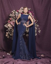 Wholesale silver prom shawl resale online - Sexy Mermaid Prom Dresses Modest Lace Evening Dress with Long Shawl Sleeve Party Pageant Gowns Special Occasion Dress Dubai robes de soire