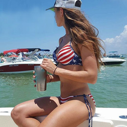Wholesale women american flag bikini for sale - Group buy Sexy bikini women swimwear American flag lacing stripe summer beach bikini swimsuit bikinis set