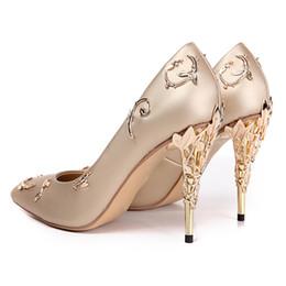 $enCountryForm.capitalKeyWord Australia - Leaf Heel Sexy Lady Pumps Spring Summer Fashion Pointed Toe High Heels Dress Shoes for Party Wedding Sweet Girl's Basic Shoes