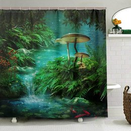 $enCountryForm.capitalKeyWord Australia - Fantasy River with A Pond Shower Curtain Fsh And Mushroom in Jungle Trees Waterproof Polyester Bathroom Curtain for Bath