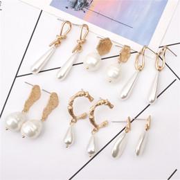 Irregular pearl earrIngs online shopping - New Fashion Gold Plated Irregular Pearl Dangle Earrings For Women Gifts Wedding Geometric Statement Baroque Drop Earring Mix Designs