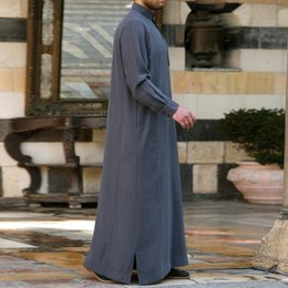 $enCountryForm.capitalKeyWord Australia - Mens Muslim Arab Style Casual Shirt Long Sleeve Button Closure Solid Mens Robes Chest Pocket Summer Party Dreess Ethnic Clothing Gray Green