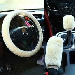 black fur steering wheel cover Australia - Universal Steering-wheel Plush Car Steering Wheel Covers Winter Faux fur Hand Brake & Gear Cover Set Car Interior Accessories