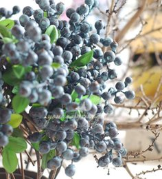 Wholesale 10pcs Decorative Blueberry Fruit Berry Artificial Flower Silk Flowers Fruits For Wedding Home Decoration Artificial Plants C18112601