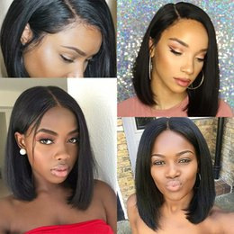 $enCountryForm.capitalKeyWord Australia - Bob Lace Front Human Hair Wigs With Baby Hair Pre Plucked Peruvian Remy Hair Full End Straight Short Bob Wig For Black Women
