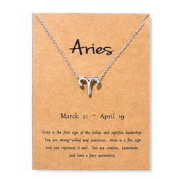 gemini chain Australia - Aries Taurus Gemini Leo Message Card Jewelry 12 Constellation Pendant Necklace Silver Chain Necklaces For Women Birthday Gift