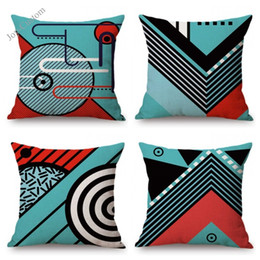 $enCountryForm.capitalKeyWord Australia - Nordic Memphis Design Art Sofa Throw Pillow For Home Decoration Blue Geometry Office Outdoor Cotton Linen Chair Cushion Cover