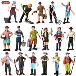 Miniature Figures Australia - Oenux New Farmer People Model Simulation Farm Staff Feeder Action Figures Pig Animals Figurine Miniature Lovely Toys For Kids